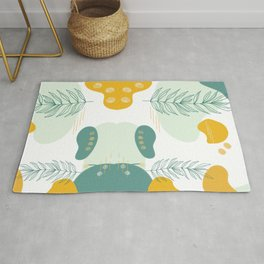 Abstract Shapes & Leaves in Mustard Yellow Rug