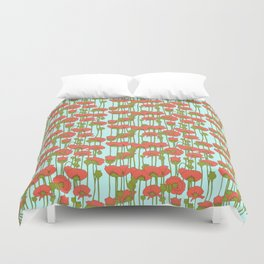 poppies in coral on turquoise Duvet Cover