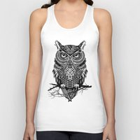 owl Tank Tops featuring Warrior Owl 2 by Rachel Caldwell