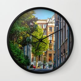 Calm residential street in Amsterdam the capital of Holland Netherlands Wall Clock
