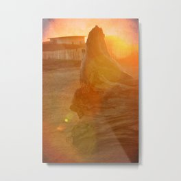 LOG CHILLING ON THE CALIFORNIA COAST - IN THE SUNSET Metal Print