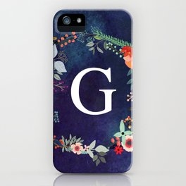 Personalized Monogram Initial Letter G Floral Wreath Artwork iPhone Case