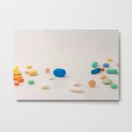 Drugs in the form of colored medicines. Metal Print