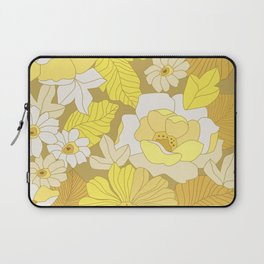 Yellow, Ivory & Brown Retro Flowers Laptop Sleeve
