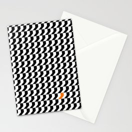 Orange: Black And White Pattern Stationery Cards