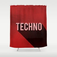 techno Shower Curtains featuring Techno by Barbo's Art