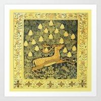 A Deer, A Rabbit and A Leafy Chestnut Tree Art Print