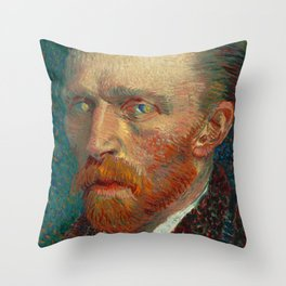 Vincent Van Gogh Self Portrait With Starry Night In His Eyes Throw Pillow