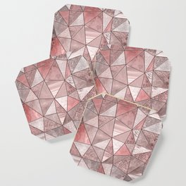 Soft Pink Coral Glamour Gemstone Triangles Coaster