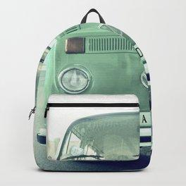 Vintage Wander van. Summer dreams. Green Backpack
