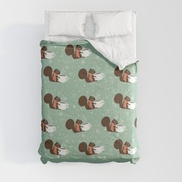 Cute Squirrel Coffee Lover Winter Holiday Comforters