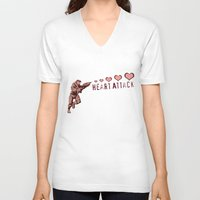 master chief V-neck T-shirts featuring Heart Attack - Master Chief - Halo by Canis Picta