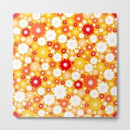 Small Daisy pattern - orange, red, yellow Metal Print