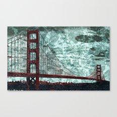 Red Bridge, Blue Bay Canvas Print