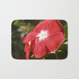 Close Up Of A Red Busy Lizzie Flower Bath Mat