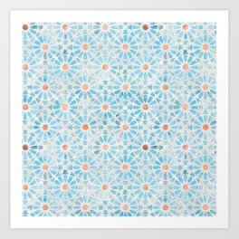 Hara Tiles Light Blue Art Print