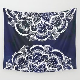 White Feather Mandala on Navy Wall Tapestry