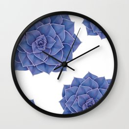 Elegant Big Purple Echeveria Design Wall Clock