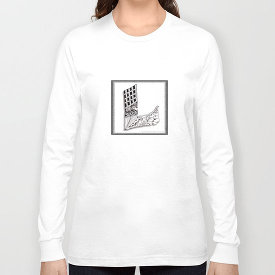 Zentangle L Monogram Alphabet Illustration Long Sleeve T-shirt