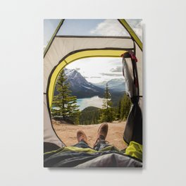 LAKE - MAN - FEET - TENT - PHOTOGRAPHY Metal Print
