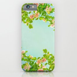 Blush Pink Camellias with Lime on Aqua iPhone Case
