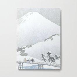 Peasant With Horse and Snowy Mount Fuji - Vintage Japanese Woodblock Print Art Metal Print