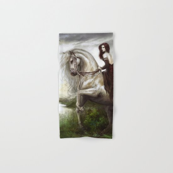 Morning welcome - Royal redead girl riding a white horse Hand & Bath Towel
