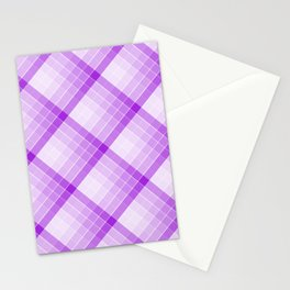 Purple Geometric Squares Diagonal Check Tablecloth Stationery Cards