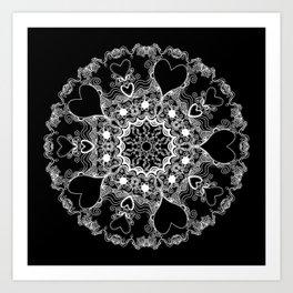 Mandala Project 215 | White on Black Art Print