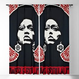 Angela Davis - Power & Equality - Power to the People - Red - African American Vintage Poster Blackout Curtain