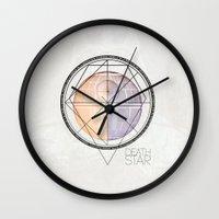 death star Wall Clocks featuring DEATH STAR by Alberto Lorenzo