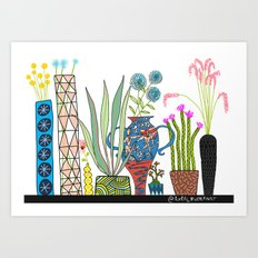 Exotic pots and plants Art Print