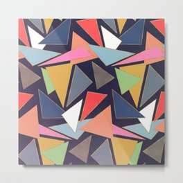 Modern Contemporary Gold Strokes Colorful Triangles Metal Print