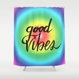 Good Vibes - Rainbow Pride Shower Curtain