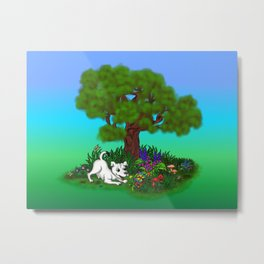 Spring-awakening - Puppy Capo and Butterfly Metal Print
