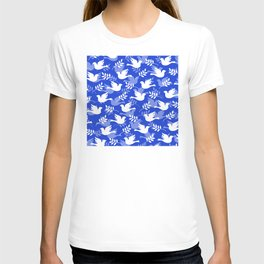 Hanukkah Doves Of Peace Pattern With Olive Branches T-shirt