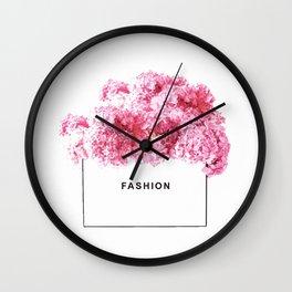 Fashion, Flowers, Pink, Modern, Minimal, Interior, Wall art Wall Clock