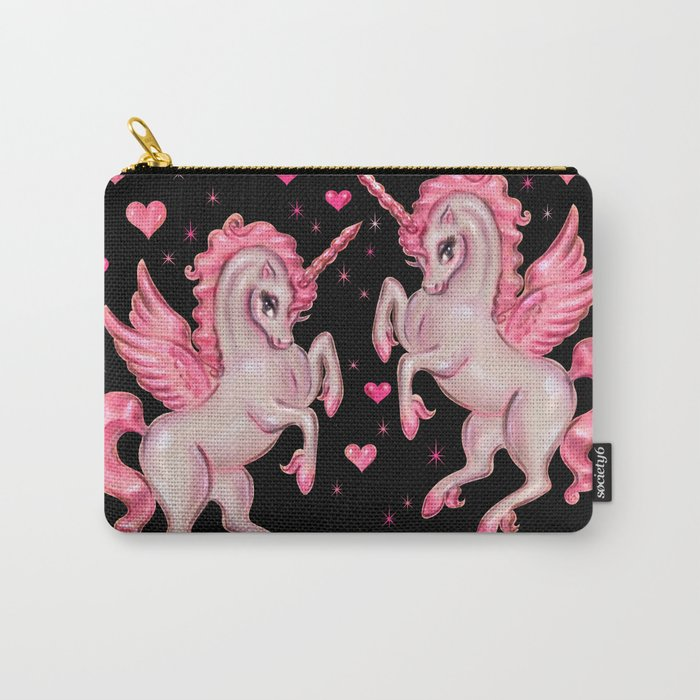 Pink Unicorn Pegasus on Black Carry-All Pouch
