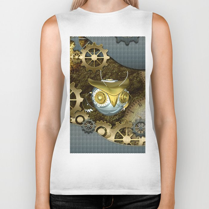 Steampunk, awesome owl Biker Tank