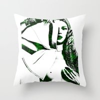 kate moss Throw Pillows featuring Kate Moss by fashionistheonlycure