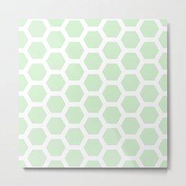 Soft Fern Green Honeycomb Pastel Pattern Metal Print