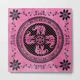 Mandala Indian Elephant Pink Spiritual Zen Bohemian Hippie Yoga Mantra Meditation Metal Print