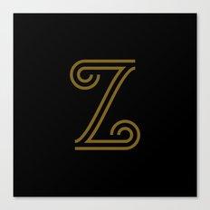 Mocha Script Z Drop Cap Canvas Print