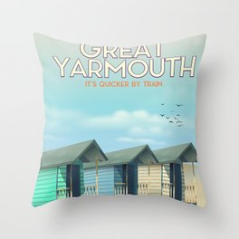 Great Yarmouth Beach travel poster Throw Pillow