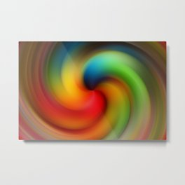 Abstract Rainbow Swirl Metal Print