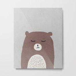 Bear - Mid century modern kids art - Children's art - Kids decor - Nursery room Metal Print