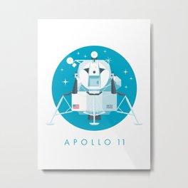 Apollo 11 Lunar Lander Module - Text Cyan Metal Print