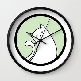 Little White Derpy Kitty Wall Clock