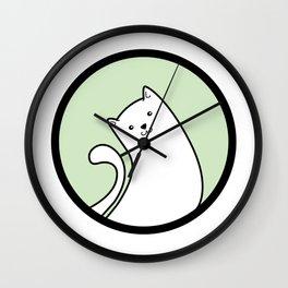 Little White Derpy Kitty Wall Clock