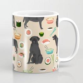 Black Lab Sushi Cute Funny Dog Breed Pet Pattern Labrador Retriever Coffee Mug